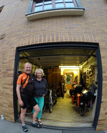 A random encounter with Heinrich at a set of traffic lights led to him offering us a coffee at his house. Beer followed coffee and then he cooked food for us as well. Heinrich and Conny are now on a tour from Budapest back to their home near Cologne.