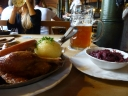 Bavarian beer and food in a Munich Beer hall.