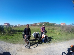 Marco (left), an Australian cyclist, who has travelled 17000km from Sydney with 2 gears and 13kg of luggage and Martin, a German cyclist, who has spent most of the last 15 years cycling, once around the world then 45000km around Europe and now on his second tour of the world.