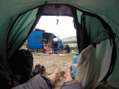 Beach camping with some fellow travellers south of Durres.