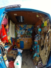 Inside of their van.