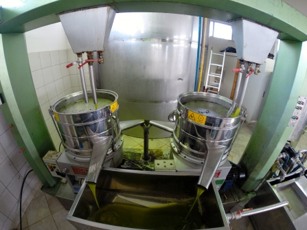 Oil goes through a centrifuge to remove impurities.