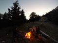 Sunset over the campfire.