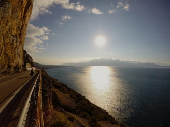 The windiest road ever heading towards Patras and the Peloponnese.